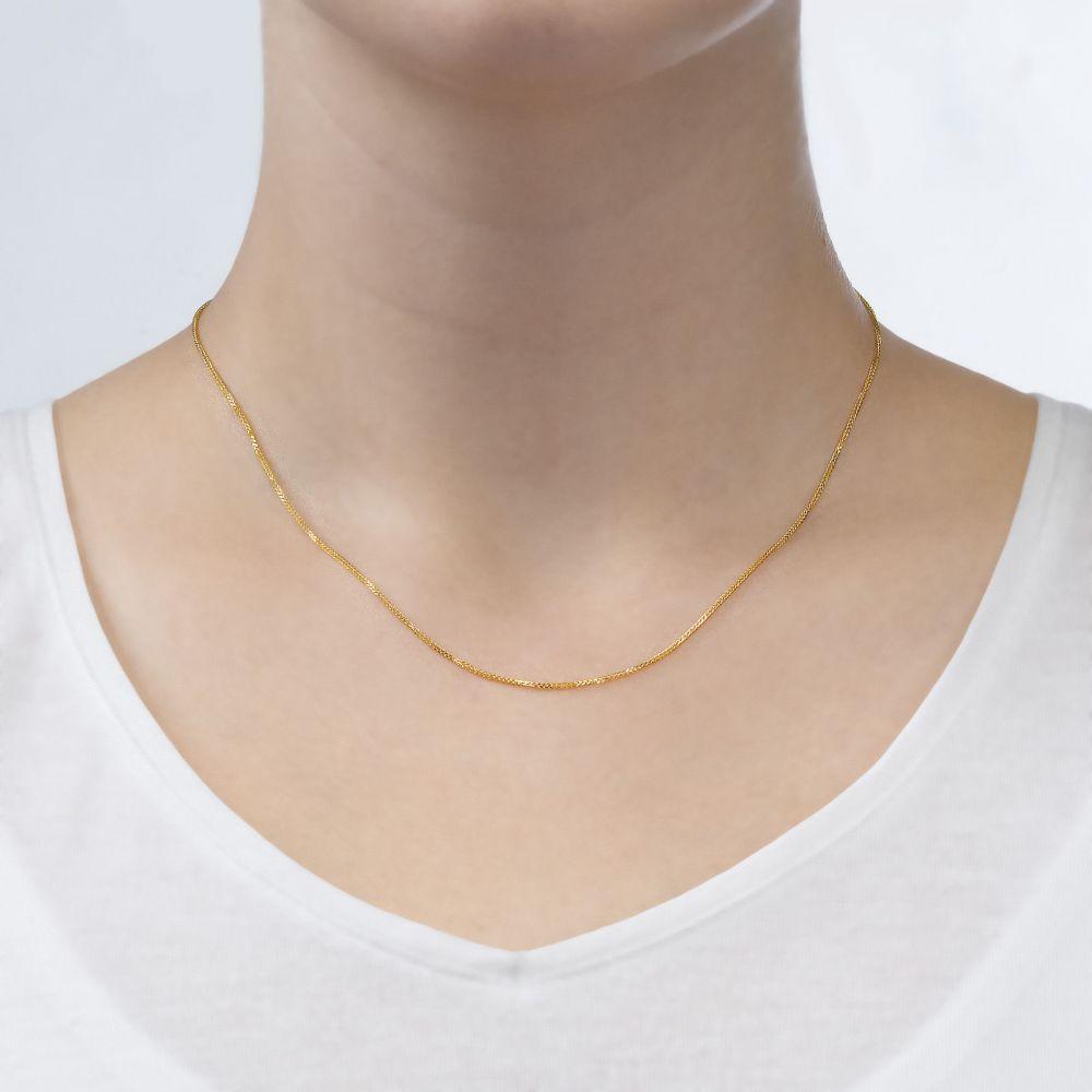 שרשראות זהב | שרשרת ספיגה זהב צהוב 0.8 מ
