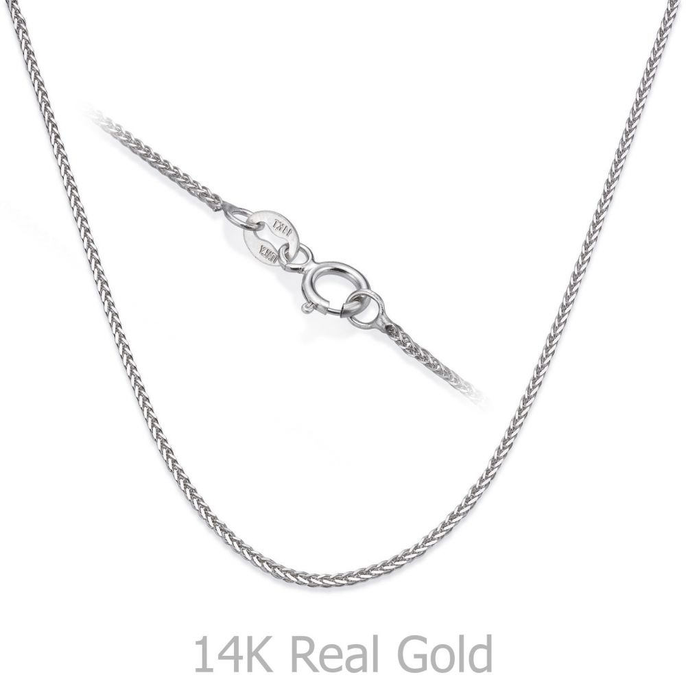 שרשראות זהב | שרשרת ספיגה זהב לבן 0.8 מ