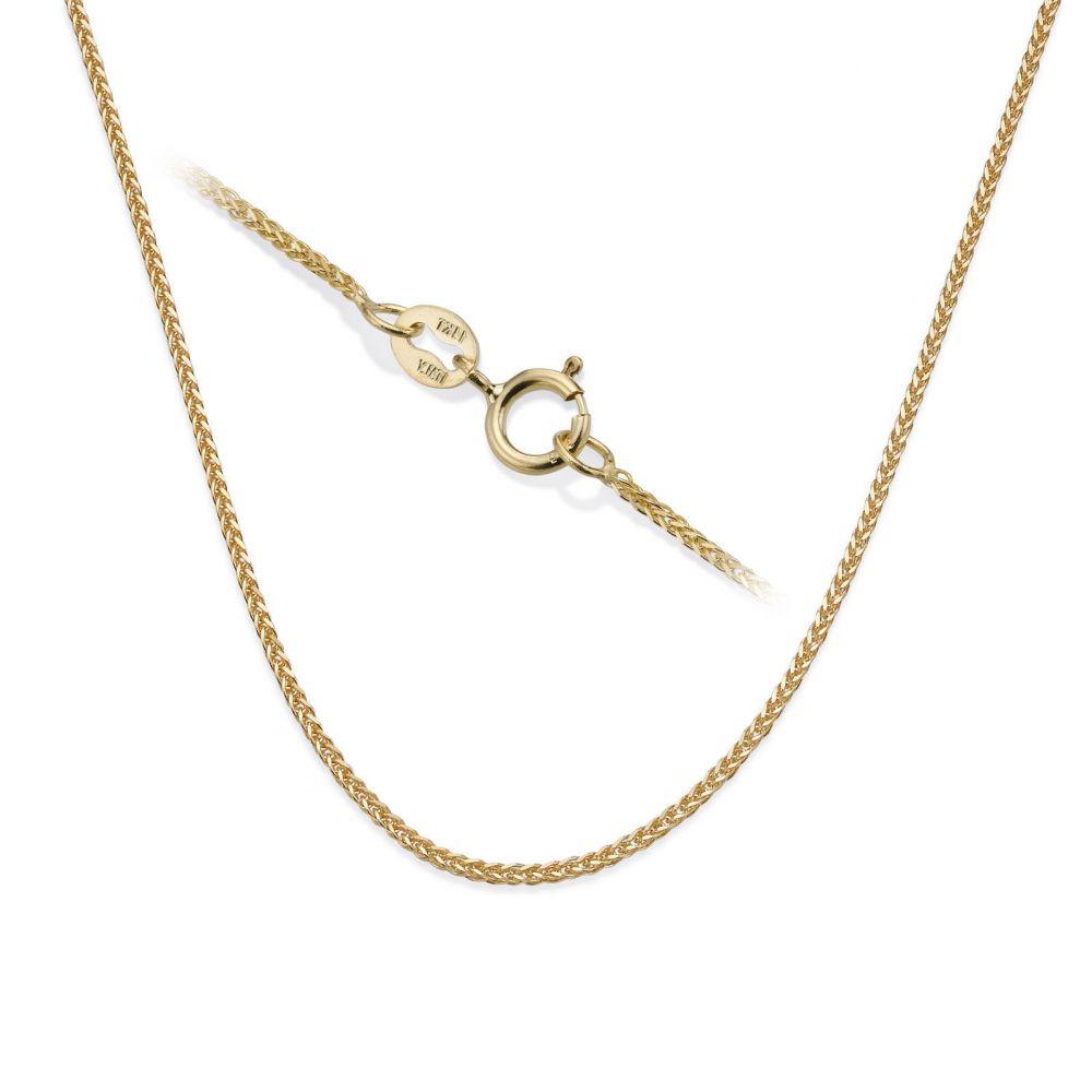 תכשיטי זהב לנשים | שרשרת ספיגה - צמה ענוגה, 0.3 מ
