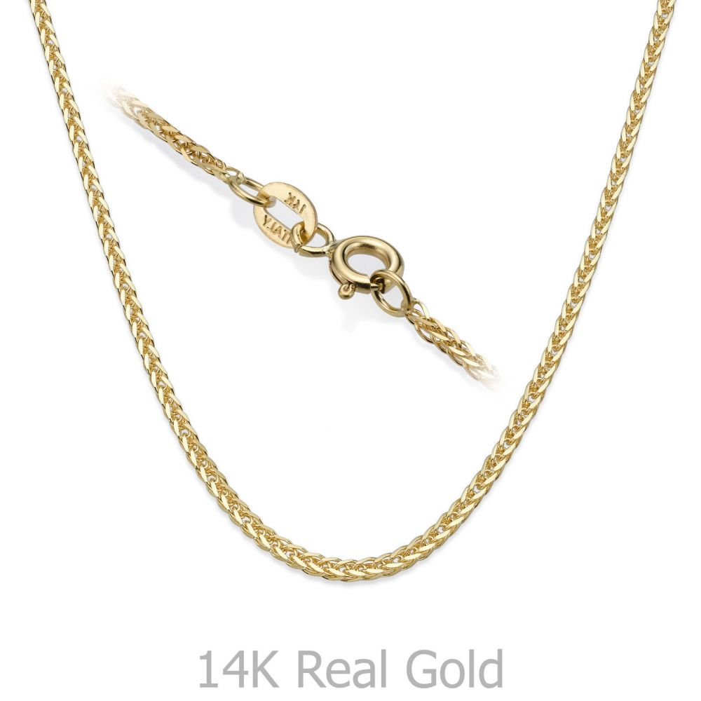 שרשראות זהב | שרשרת ספיגה זהב צהוב - צמה ענוגה, 1.0 מ