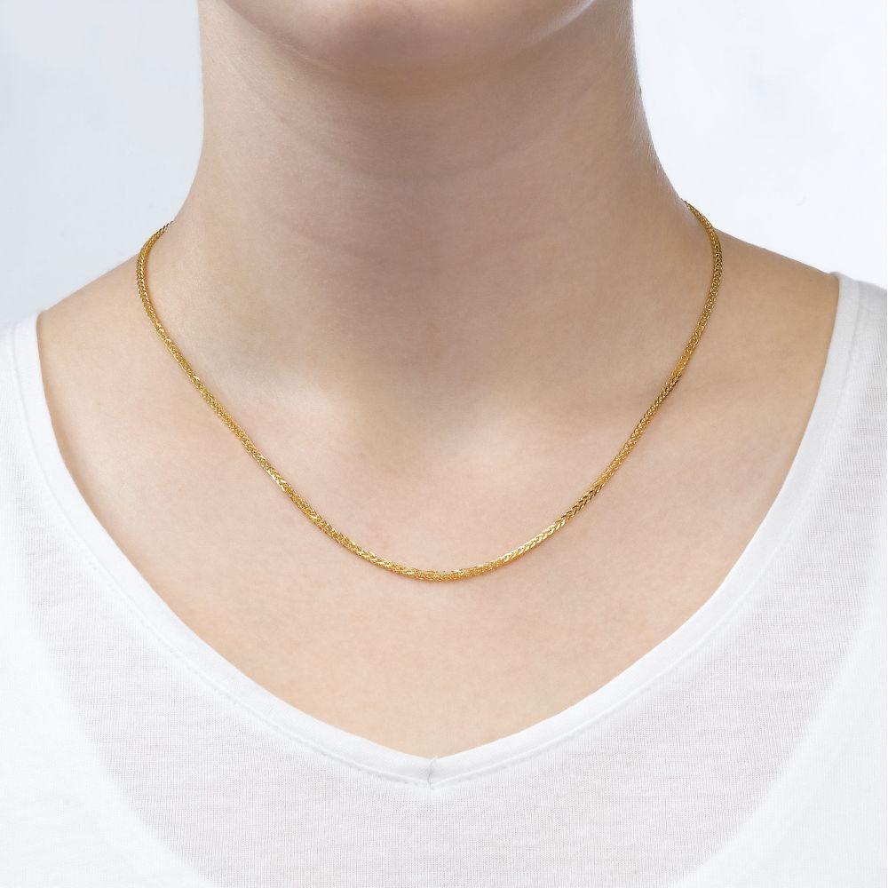 תכשיטי זהב לנשים   שרשרת ספיגה - צמה ענוגה, 1.2 מ