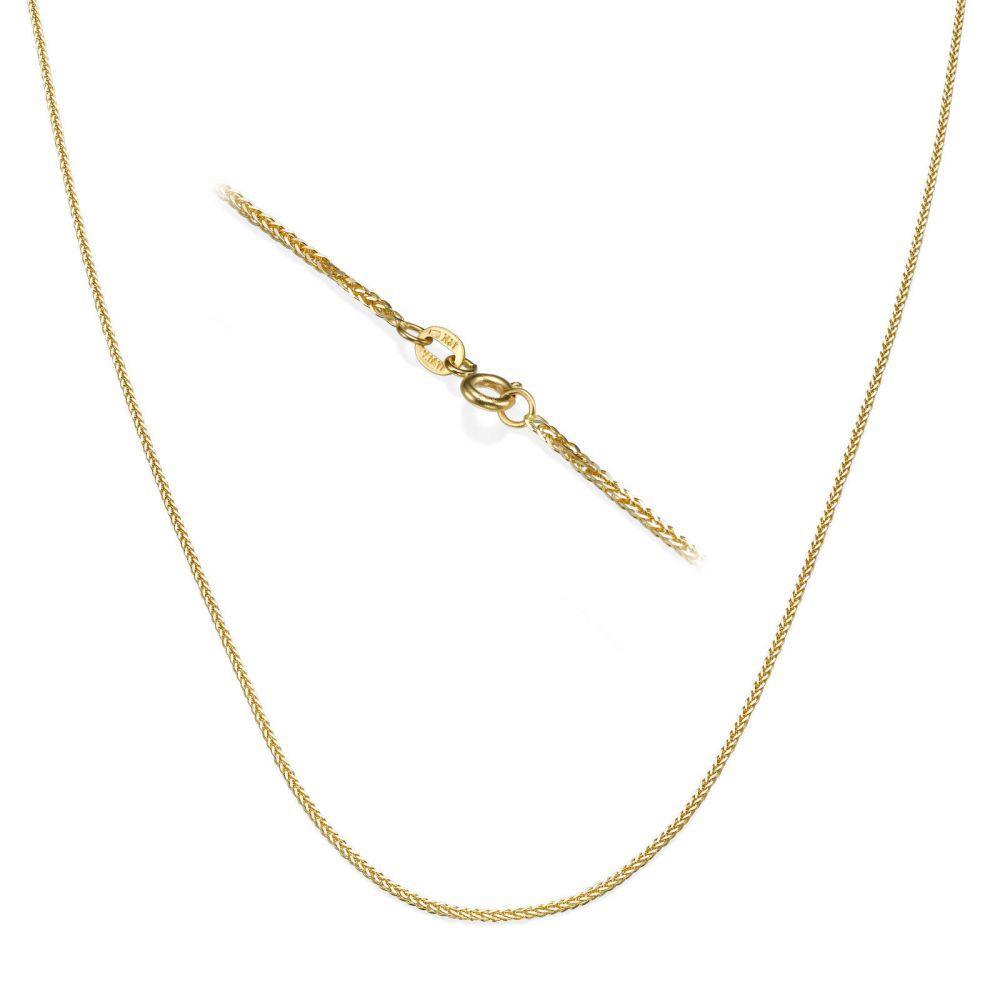 תכשיטי זהב לנשים | שרשרת ספיגה - צמה ענוגה, 0.7 מ
