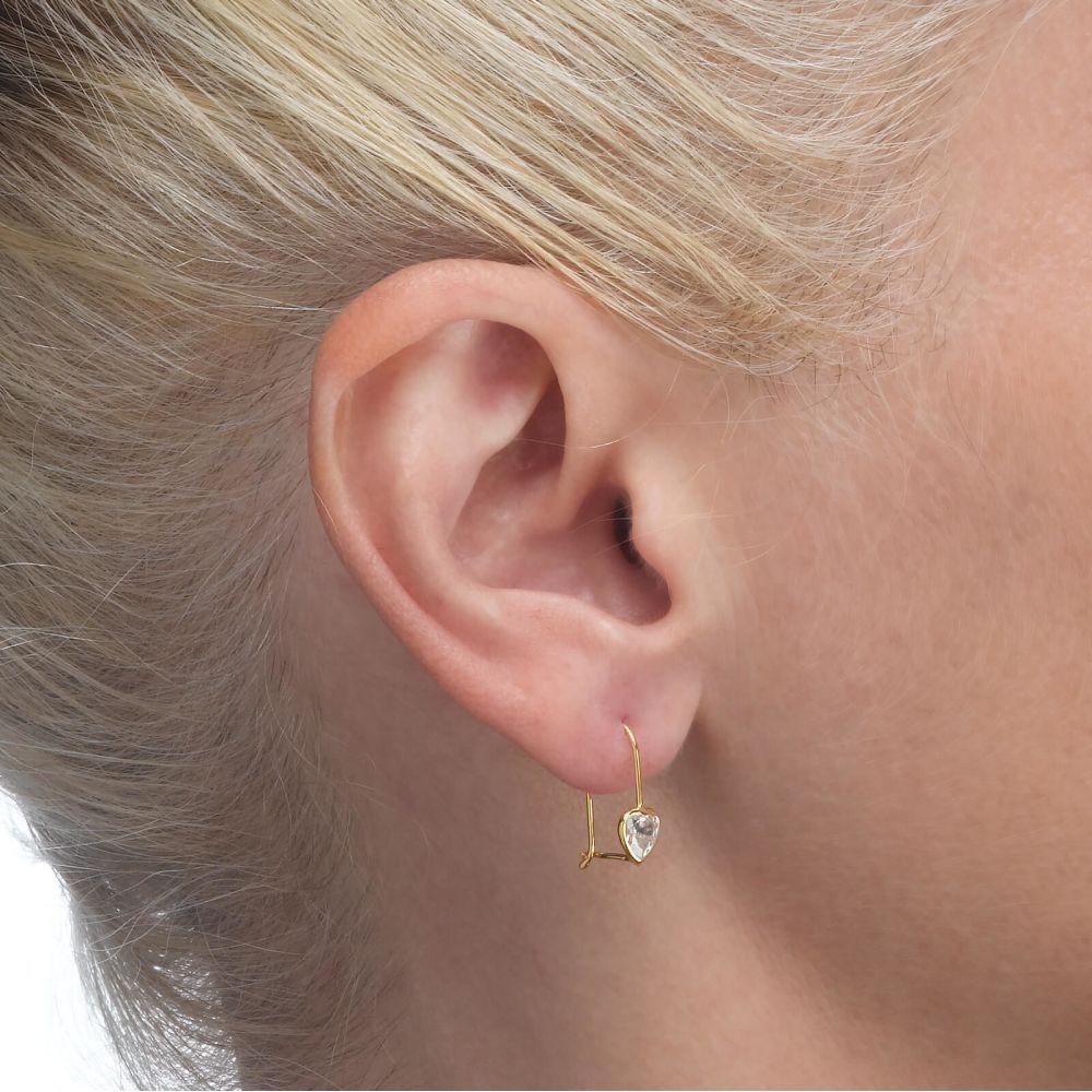 עגילי זהב   עגילי זהב תלויים - לב מישגן