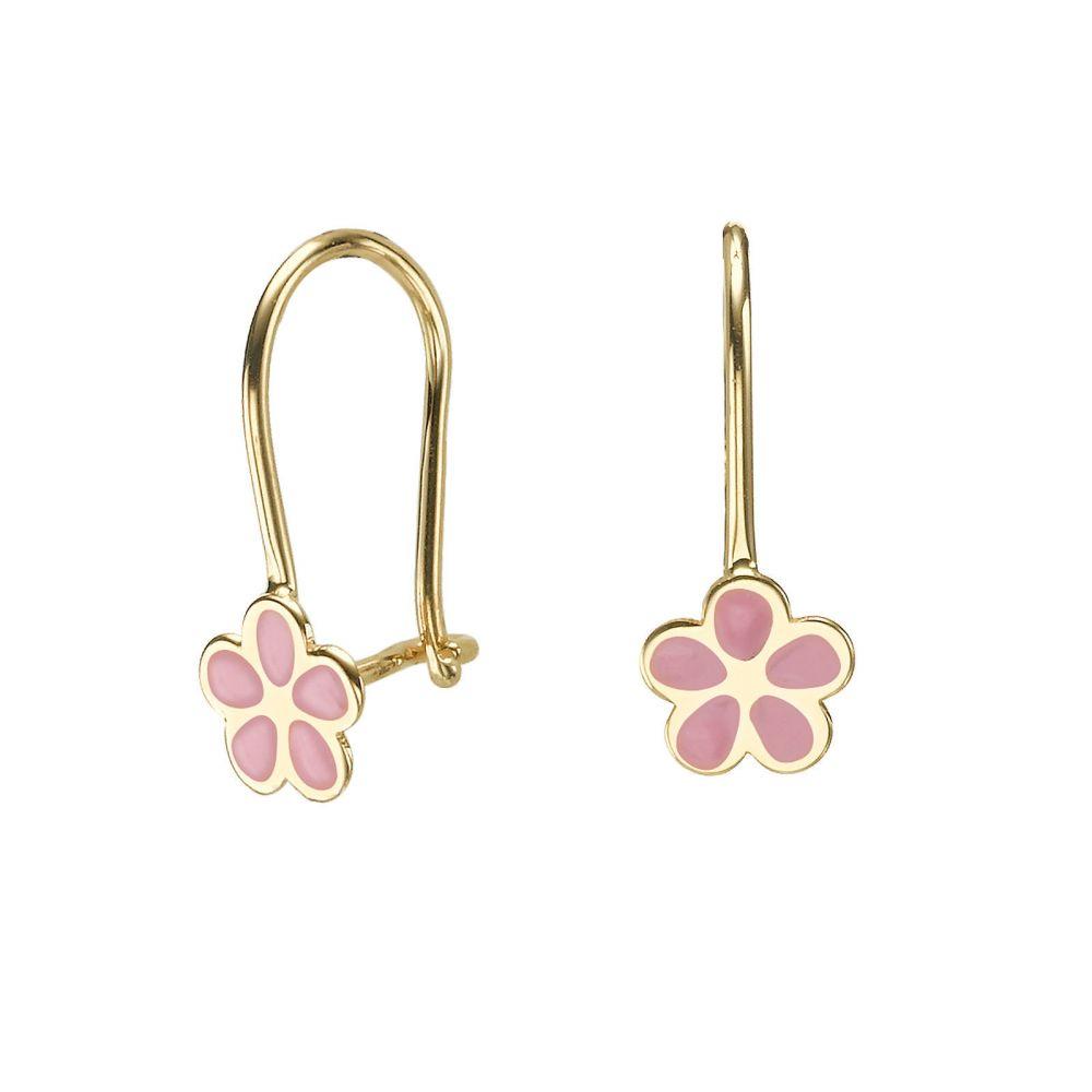 עגילי זהב | עגילי זהב תלויים - פרח לוטן
