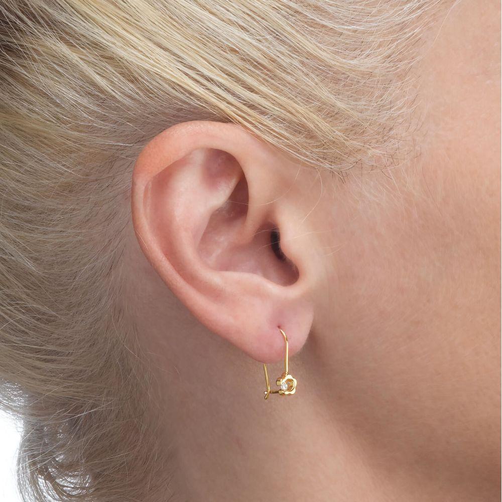 תכשיטים מזהב לילדות | עגילי זהב תלויים - פרח לני