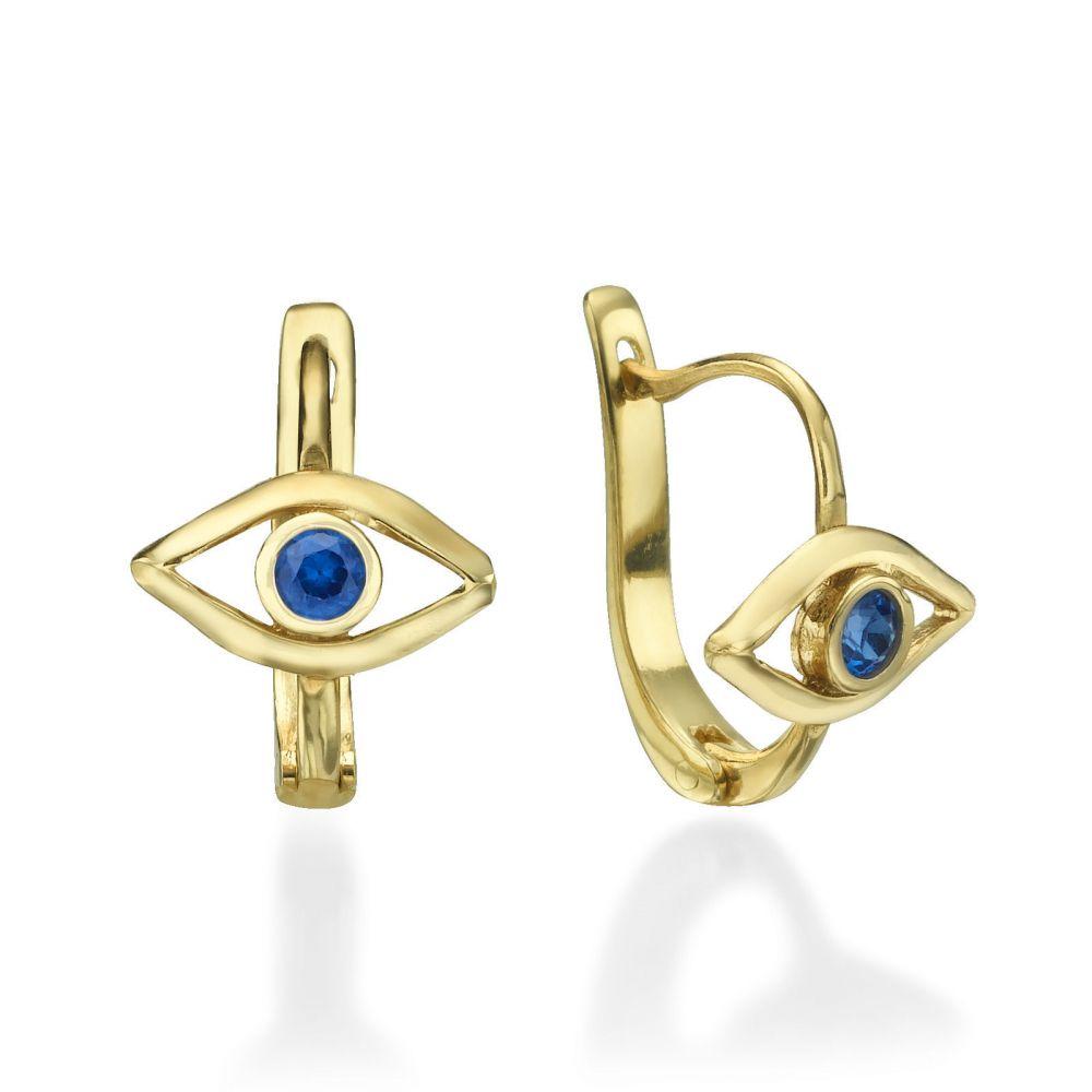 תכשיטים מזהב לילדות | עגילי חישוק תלויים מזהב - העין הכחולה