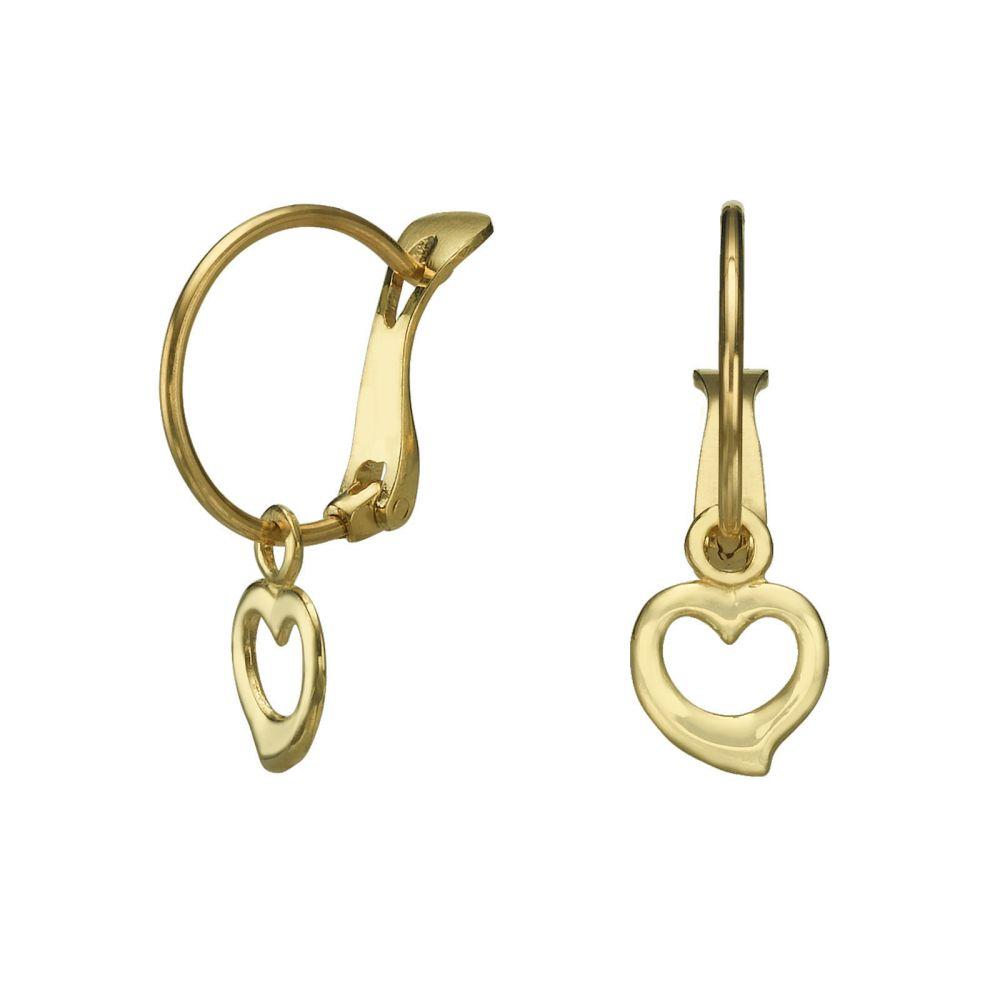 עגילי זהב | עגילי חישוק תלויים מזהב - לב מיכאלה