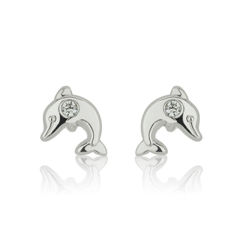 תכשיטים מזהב לילדות | עגילי זהב לבן צמודים -  דולפין מנצנץ
