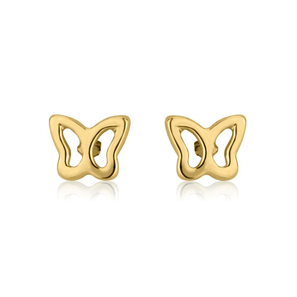 תכשיטים מזהב לילדות | עגילי זהב צמודים -  פרפר עדין