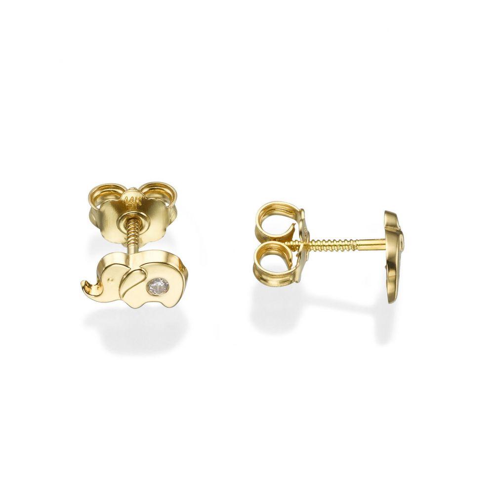 תכשיטים מזהב לילדות | עגילי זהב צמודים -  פיל מנצנץ
