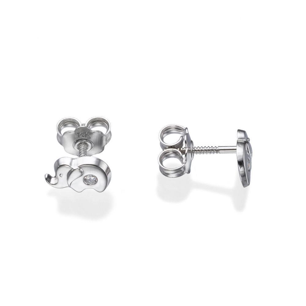 תכשיטים מזהב לילדות | עגילי זהב לבן צמודים -  פיל מנצנץ