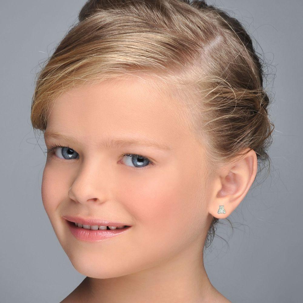 תכשיטים מזהב לילדות | עגילי זהב לבן צמודים - דובי מנצנץ