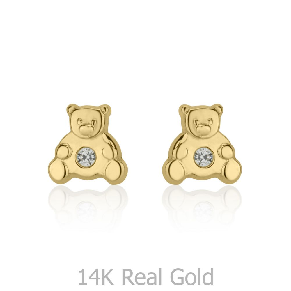 תכשיטים מזהב לילדות   עגילי זהב צמודים -  דובי מנצנץ