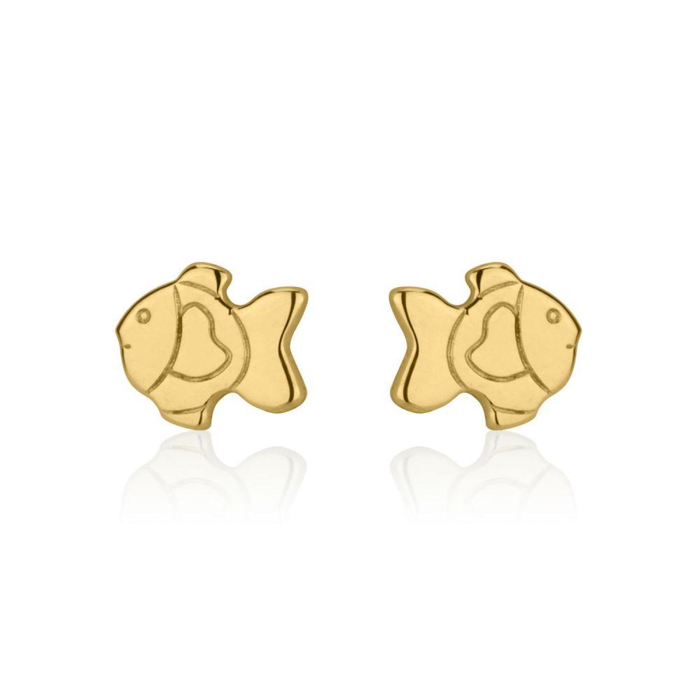 תכשיטים מזהב לילדות | עגילי זהב צמודים -  דג זהב