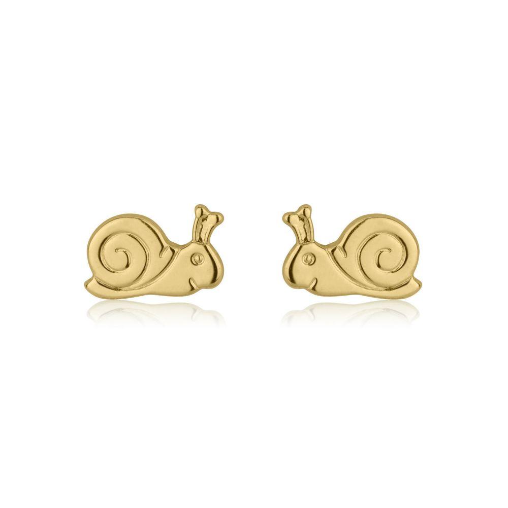 תכשיטים מזהב לילדות   עגילי זהב צמודים -  שבלול חייכן