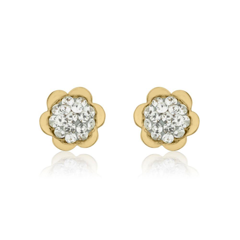 תכשיטים מזהב לילדות | עגילי זהב צמודים -  פרח אוליביה