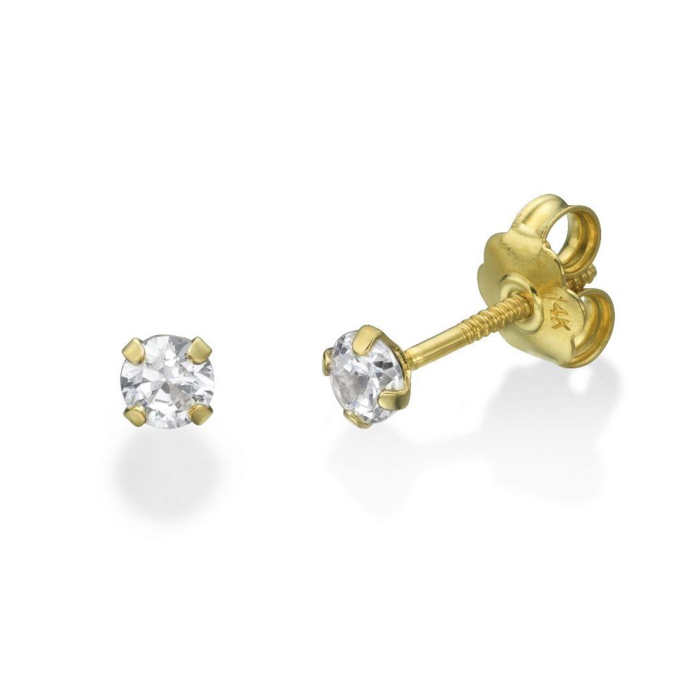 תכשיטים מזהב לילדות | עגילי זהב צמודים -  מולאן