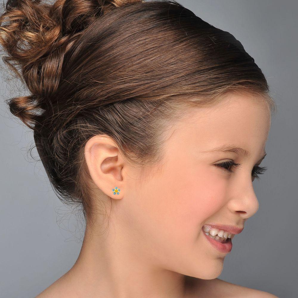 תכשיטים מזהב לילדות | עגילי זהב צמודים -  פרח שולמית
