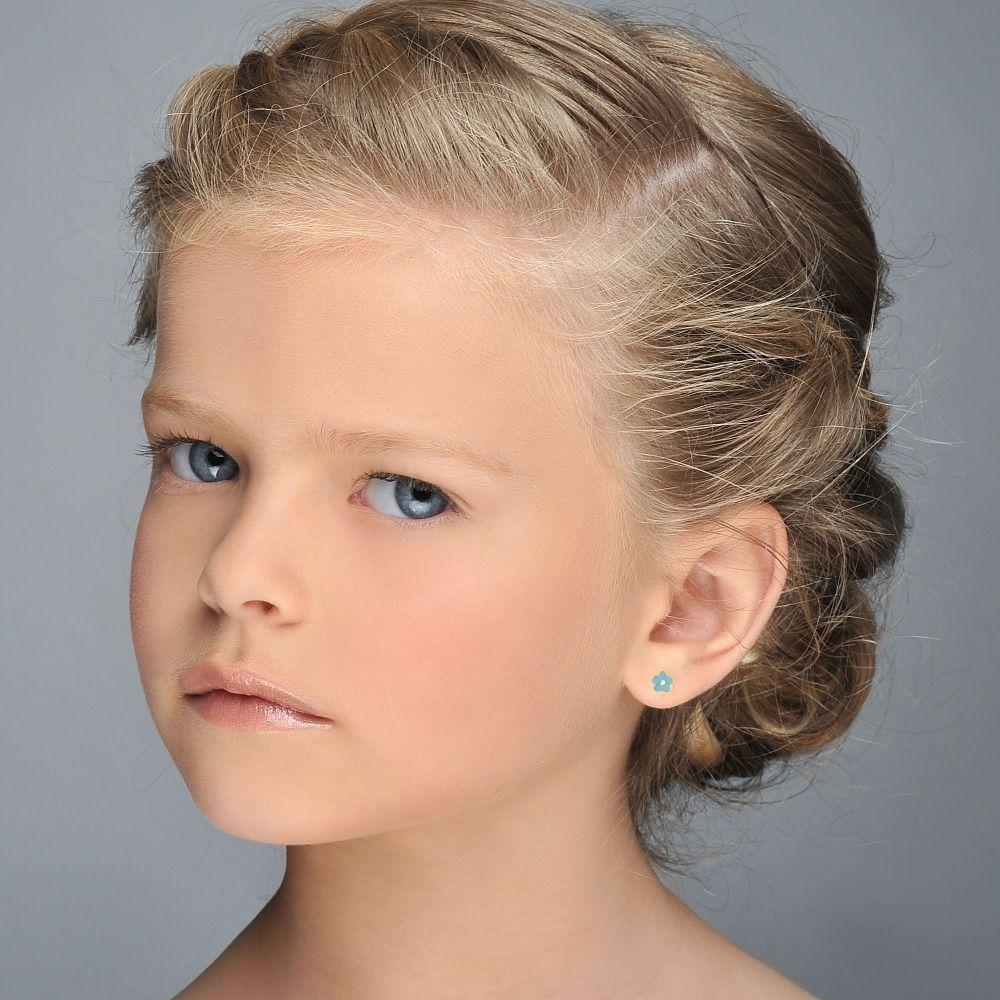 תכשיטים מזהב לילדות | עגילי זהב צמודים -  פרח נופר