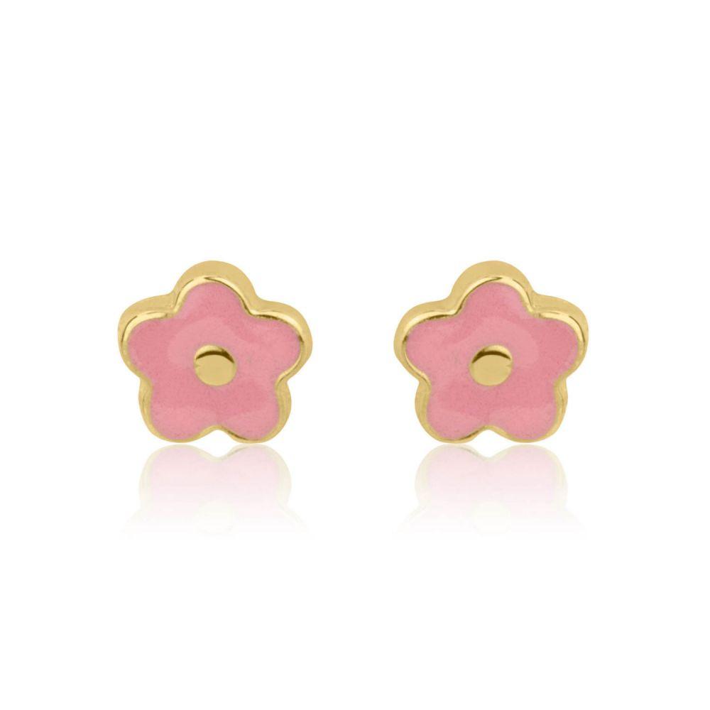 תכשיטים מזהב לילדות | עגילי זהב צמודים -  פרח לוטם