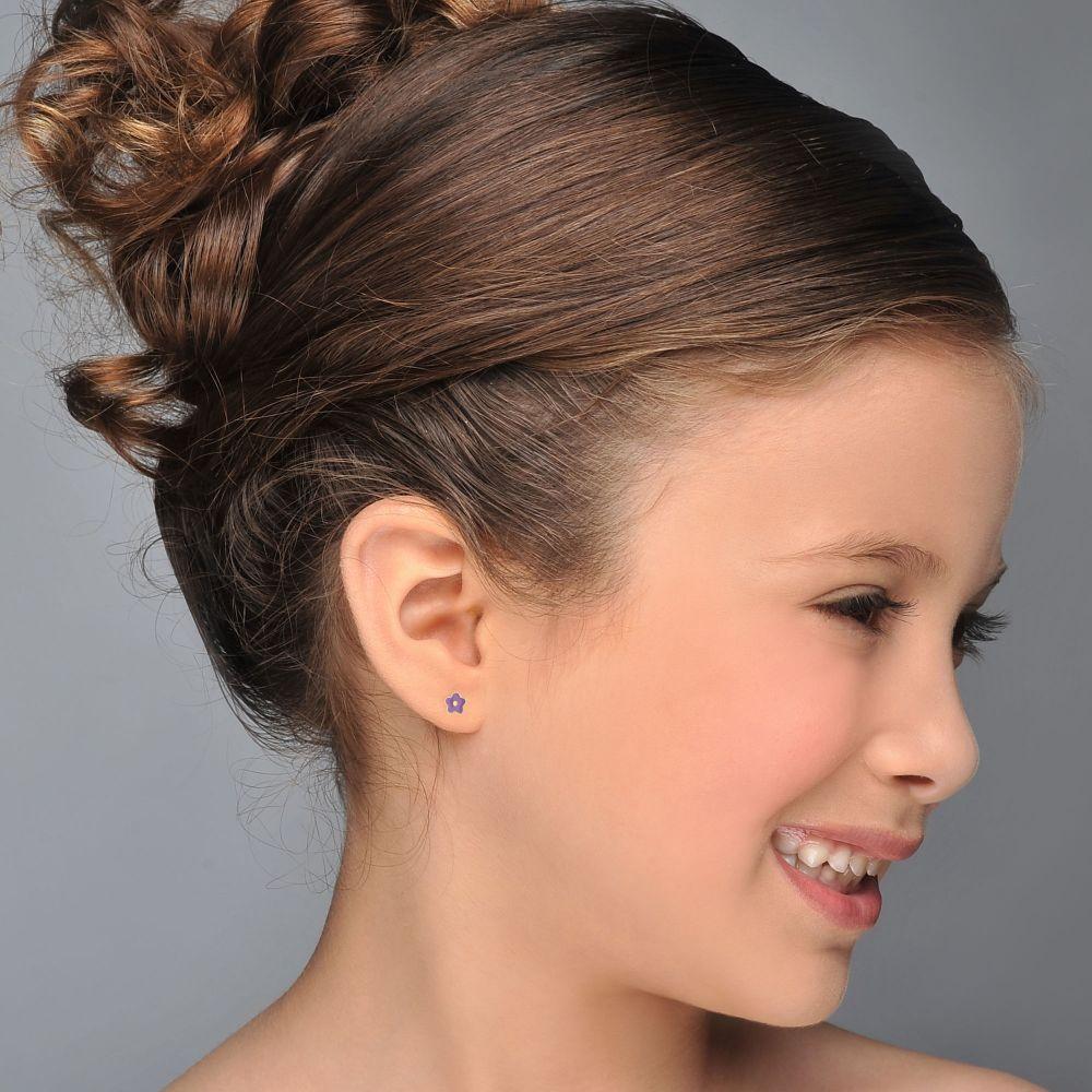 תכשיטים מזהב לילדות | עגילי זהב צמודים -  פרח לילך