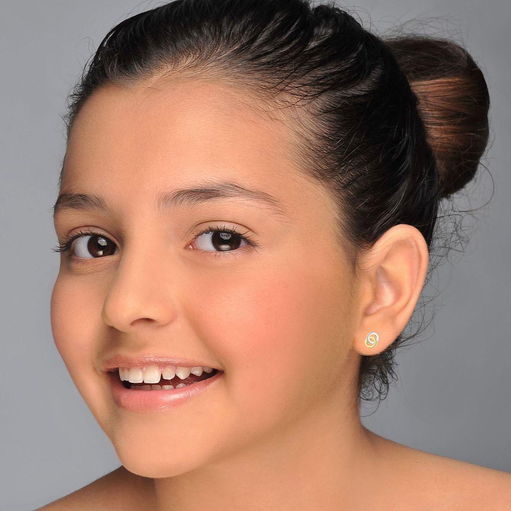 תכשיטים מזהב לילדות | עגילי זהב צמודים -  עיגולים משולבים