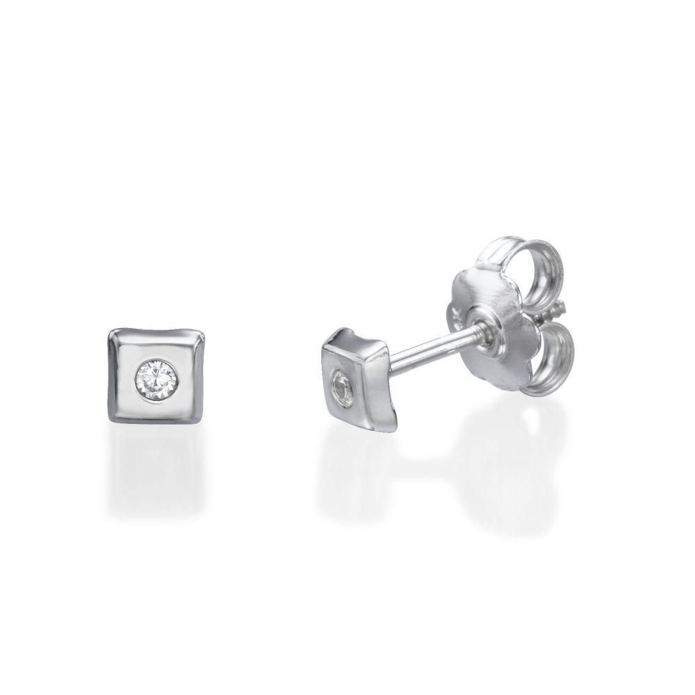 תכשיטים מזהב לילדות | עגילי זהב לבן צמודים -  ריבוע מנצנץ קטן