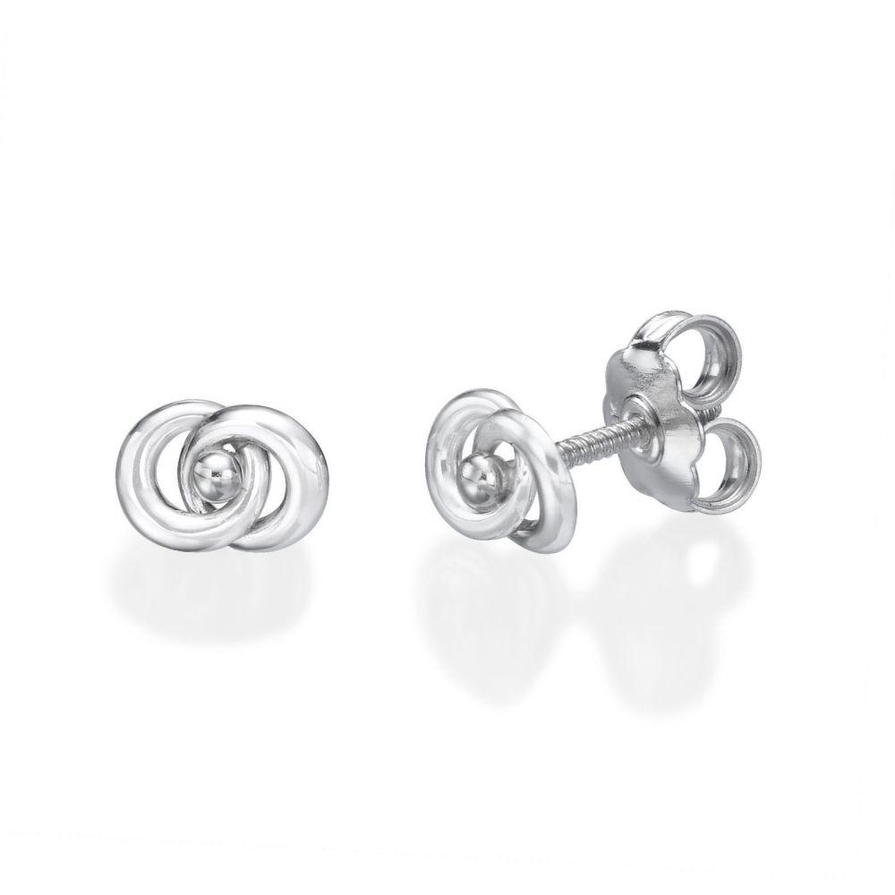 תכשיטים מזהב לילדות | עגילי זהב לבן צמודים -  עיגולים משולבים