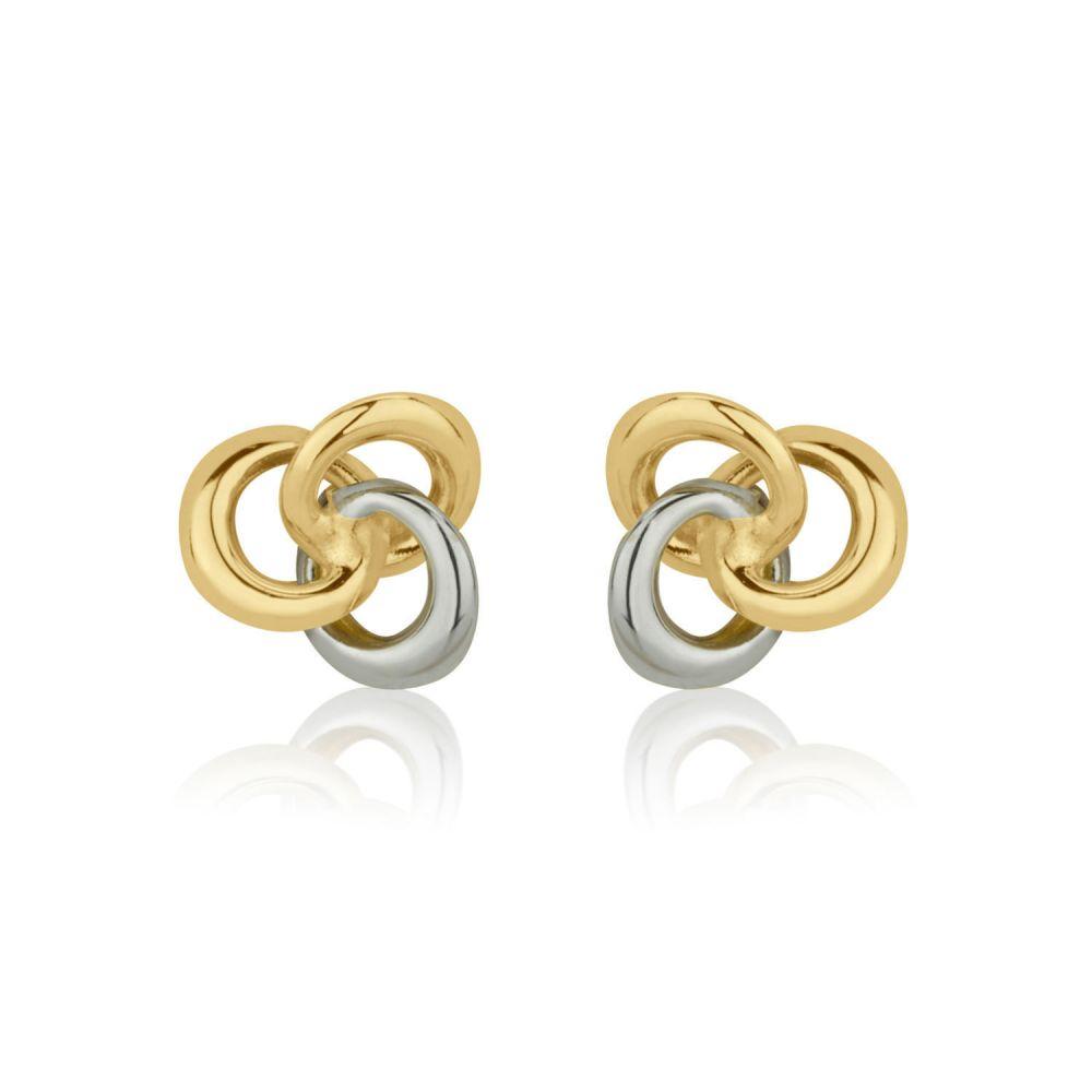 תכשיטים מזהב לילדות | עגילי זהב צמודים -  עיגולים משיקים