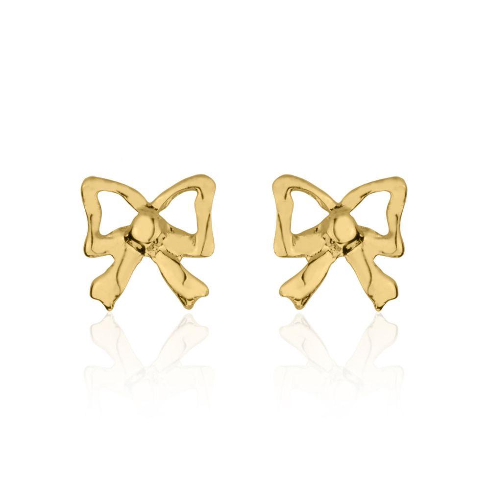 תכשיטים מזהב לילדות | עגילי זהב צמודים -  פפיון עדין