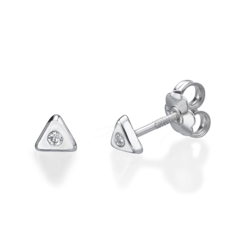 תכשיטים מזהב לילדות | עגילי זהב צמודים -  משולש מנצנץ