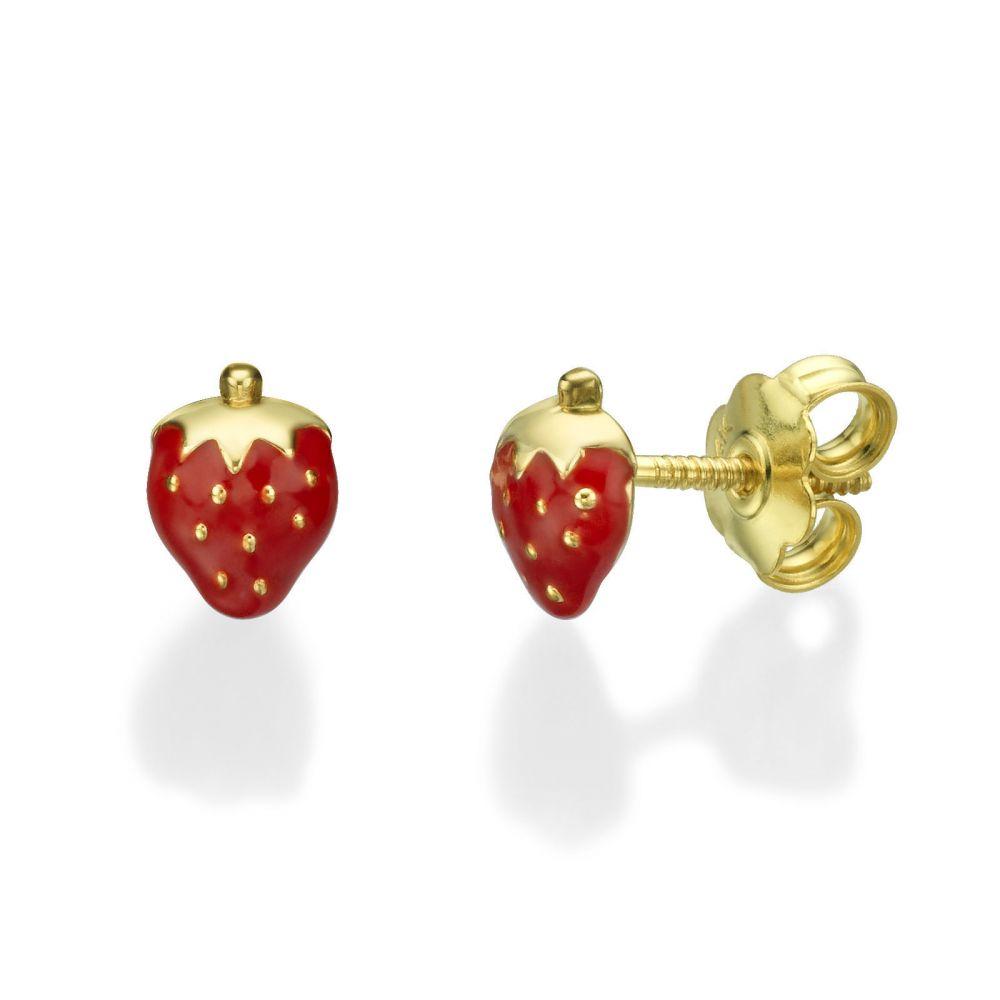 תכשיטים מזהב לילדות | עגילי זהב צמודים -  תות מתוק