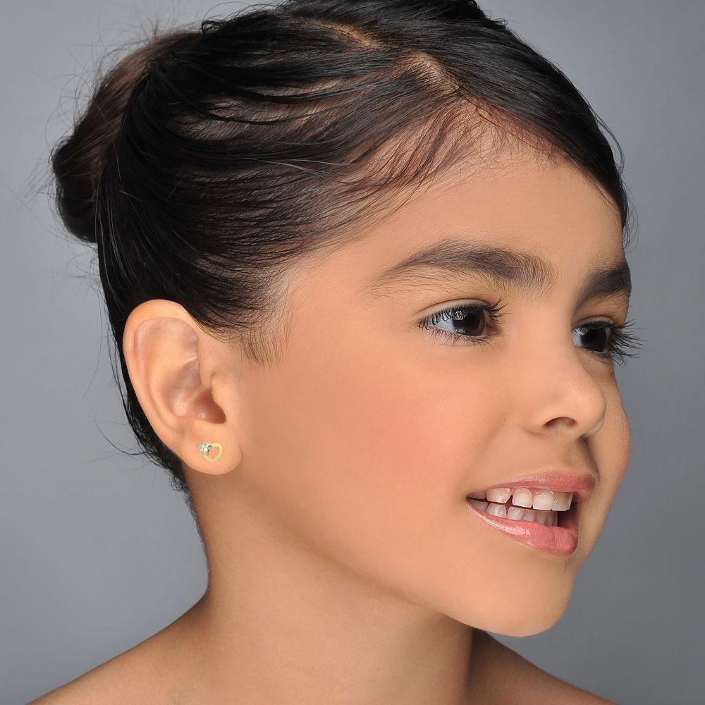 תכשיטים מזהב לילדות | עגילי זהב צמודים -  לב ופרח מרגנית