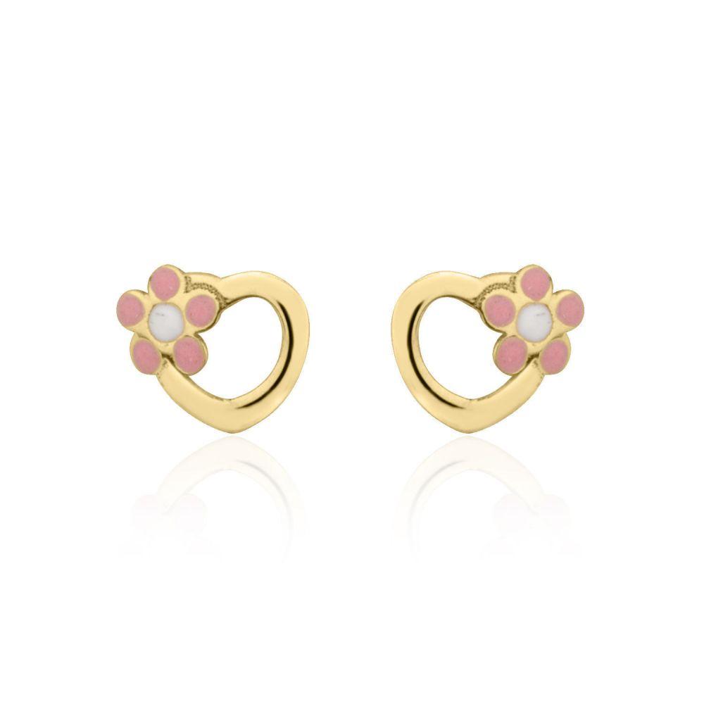תכשיטים מזהב לילדות | עגילי זהב צמודים -  לב ופרח ורדית