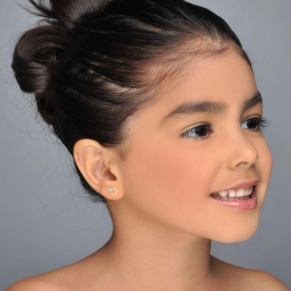 תכשיטים מזהב לילדות   עגילי זהב צמודים -  לב ופרח סיגלית