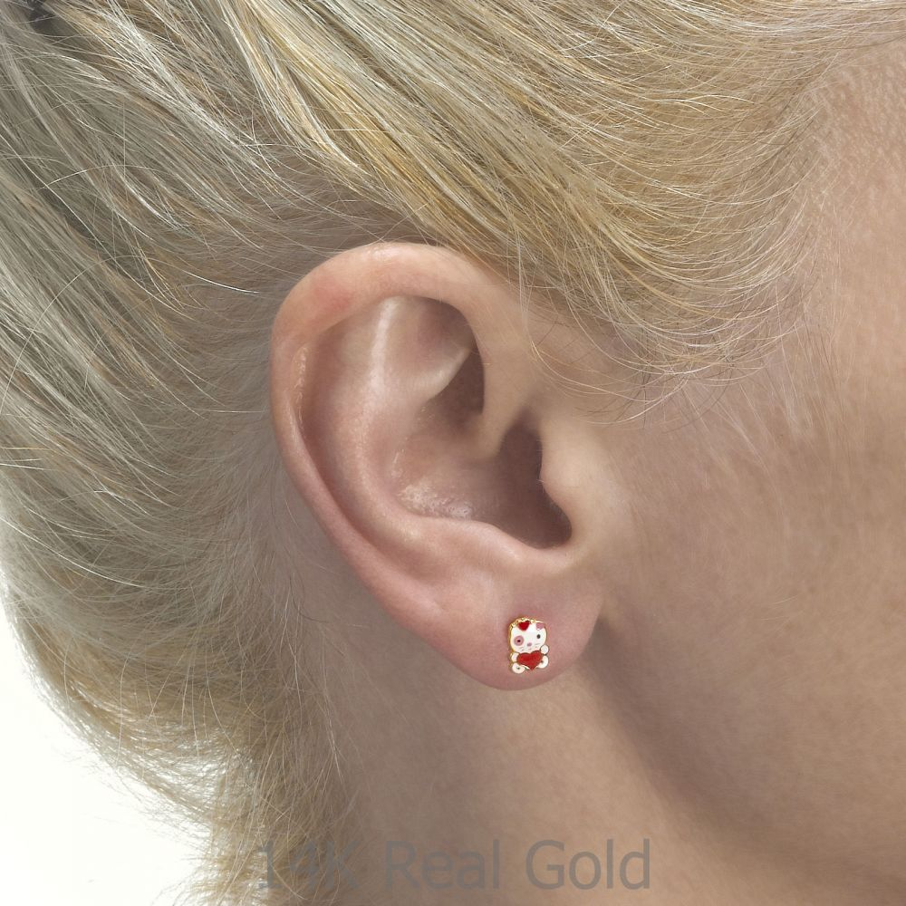 תכשיטים מזהב לילדות | עגילי זהב צמודים -  בובה אהבה