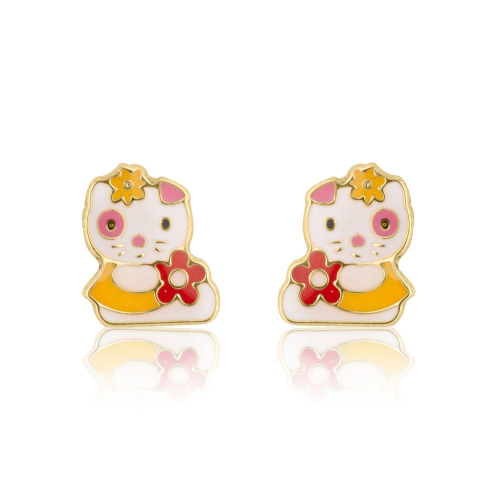תכשיטים מזהב לילדות | עגילי זהב צמודים -  בובה אופטימית