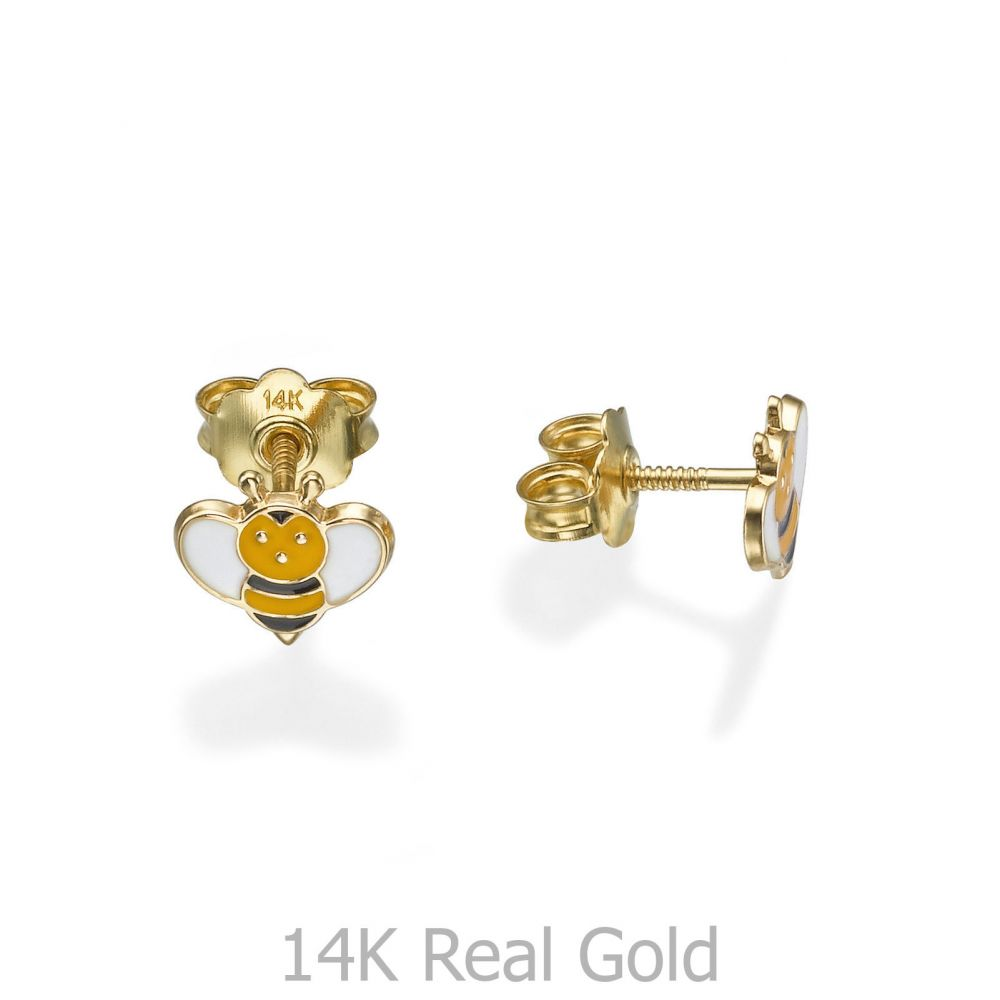 תכשיטים מזהב לילדות | עגילי זהב צמודים -  דבורה מאיה