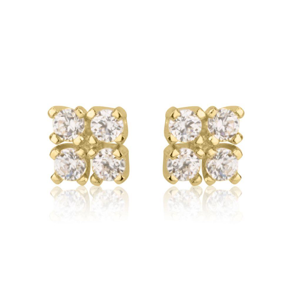 תכשיטים מזהב לילדות   עגילי זהב צמודים -  ריבועים מנצנצים