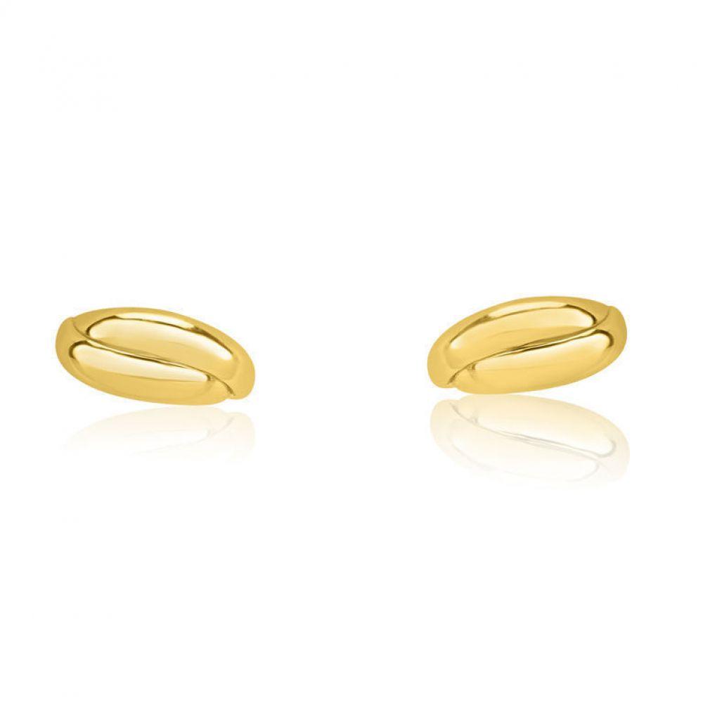 תכשיטים מזהב לילדות   עגילי זהב צמודים -  חלק סהרונים
