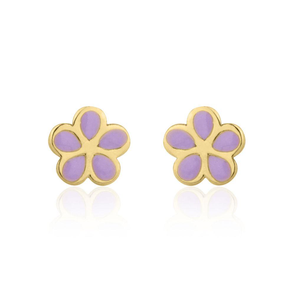 תכשיטים מזהב לילדות | עגילי זהב צמודים -  פרח סיגלית