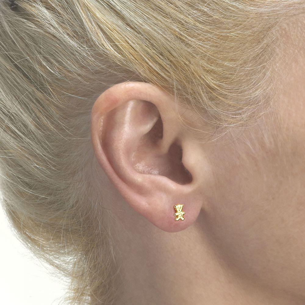 תכשיטים מזהב לילדות   עגילי זהב צמודים -  דובי חמודי