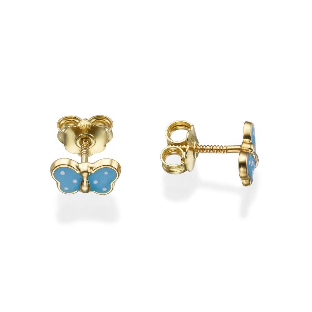 תכשיטים מזהב לילדות | עגילי זהב צמודים -  פרפר שמיימי