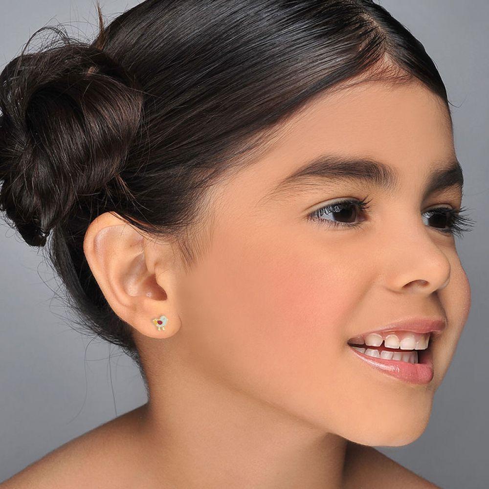 תכשיטים מזהב לילדות | עגילי זהב צמודים -  אפרוח ססגוני