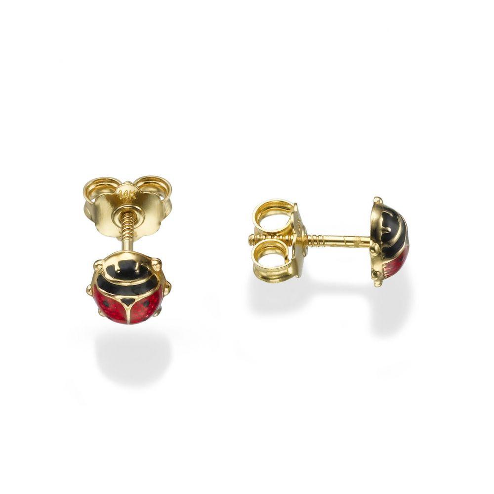 תכשיטים מזהב לילדות | עגילי זהב צמודים -  חיפושית ססגונית