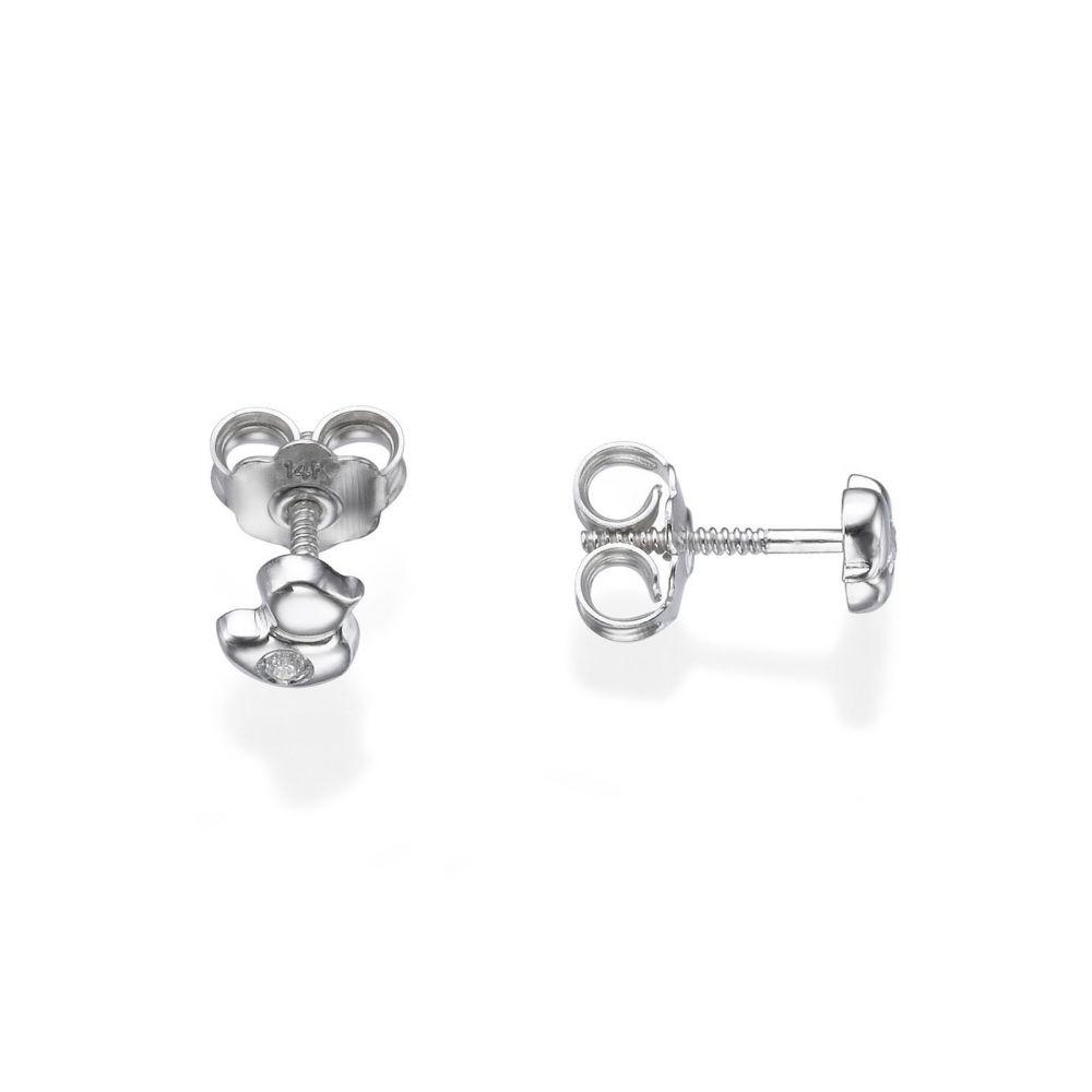 תכשיטים מזהב לילדות   עגילי זהב לבן צמודים -  אפרוח מנצנץ