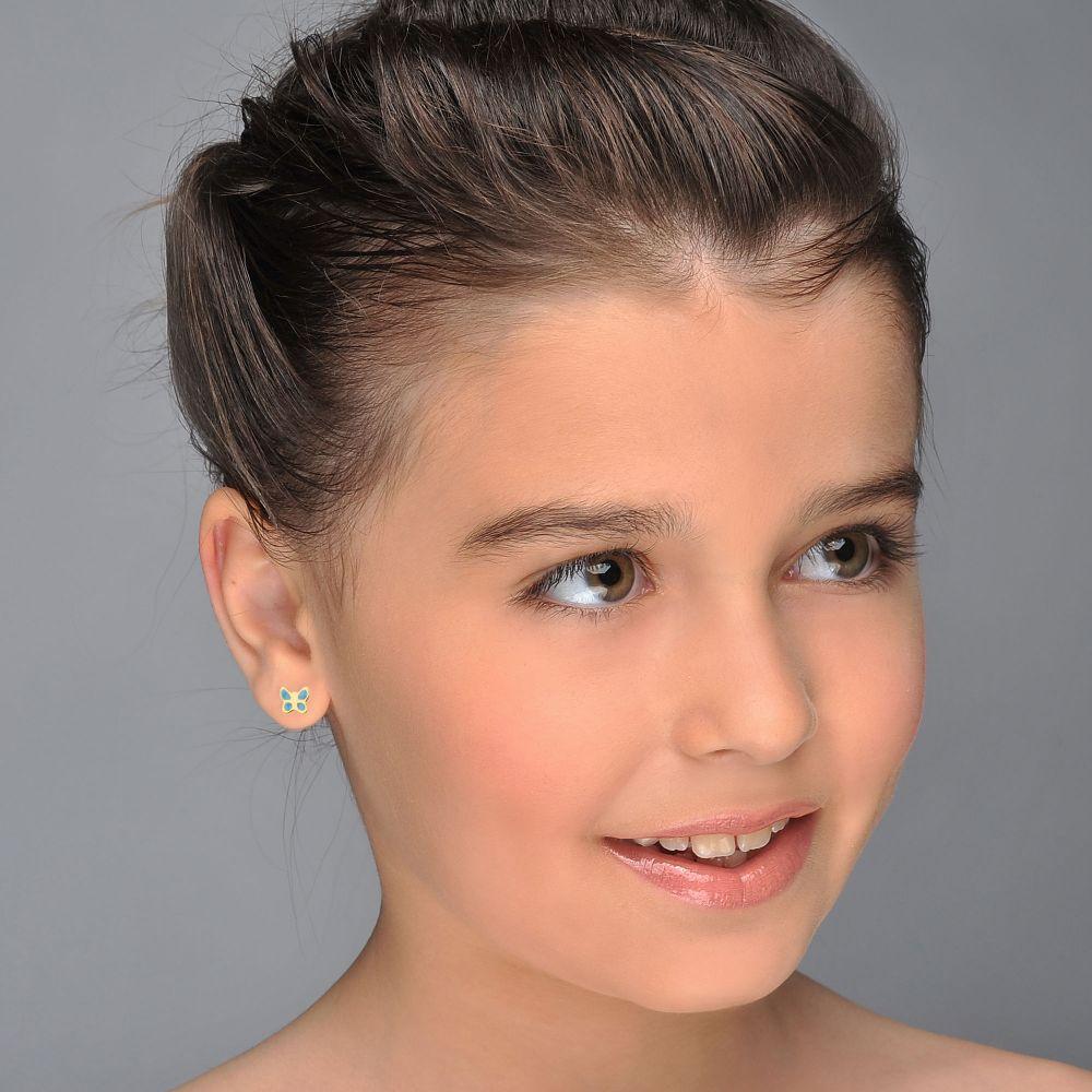 תכשיטים מזהב לילדות | עגילי זהב צמודים -  פרפר תכול-כנף