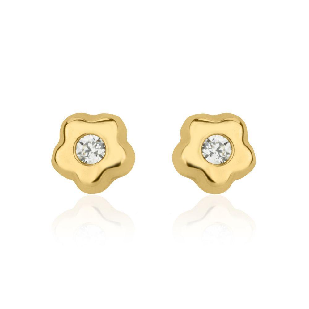 תכשיטים מזהב לילדות | עגילי זהב צמודים -  כוכב פורח קטן מאד
