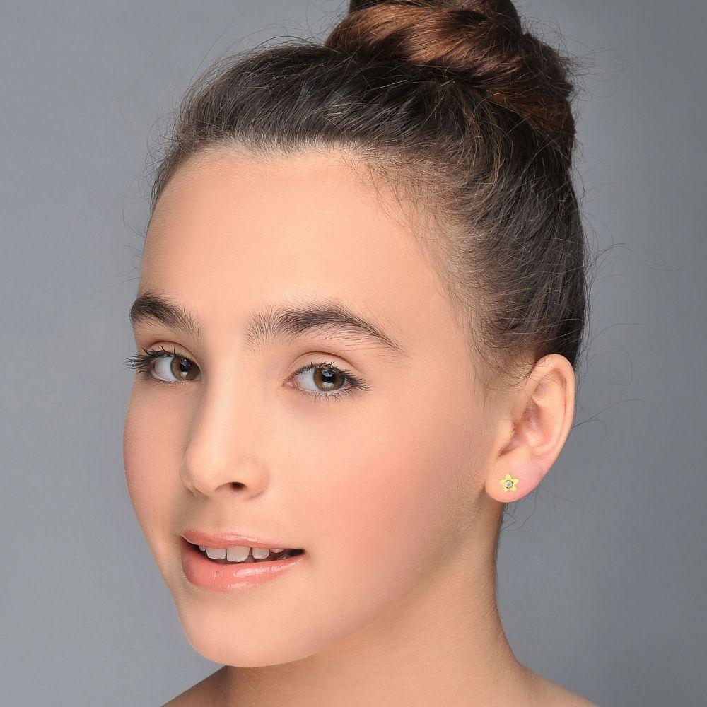 תכשיטים מזהב לילדות | עגילי זהב צמודים -  פרח פורח