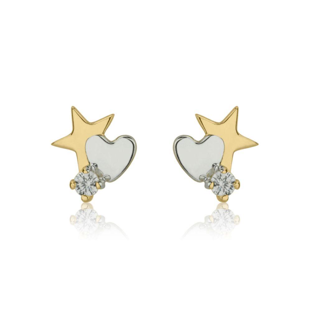 תכשיטים מזהב לילדות   עגילי זהב צמודים -  כוכב מלבב